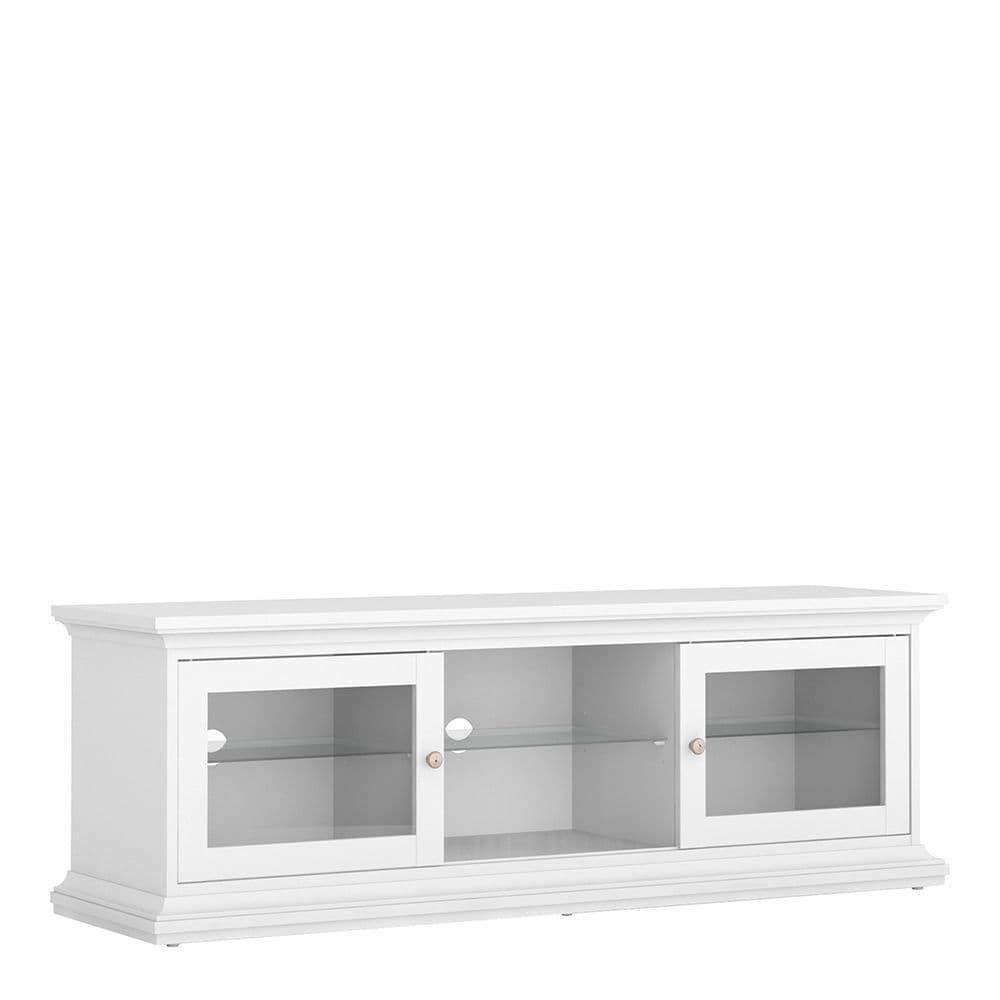 Parisian Chic TV Unit - Wide - 2 Doors 1 Shelf in White